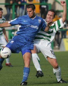 Daniel Chillingworth holds off Northwich's Steve Payne