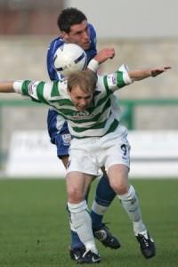 Jon Ashton fouls Northwich's Jonathon Allen