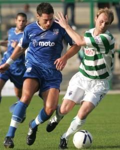 Jon Ashton takes on Northwich's Jonathon Allan
